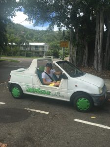 Kelvin in our 'Barbie car' @ Magnetic Island